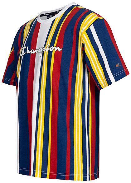 Champion Herren T-Shirt Colorblock Streifen Muster mit Logo Print Custom Fit weiss mc