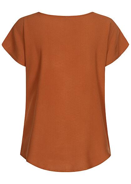 Sublevel Damen Blusen Shirt überlappende Schultern sun kissed braun