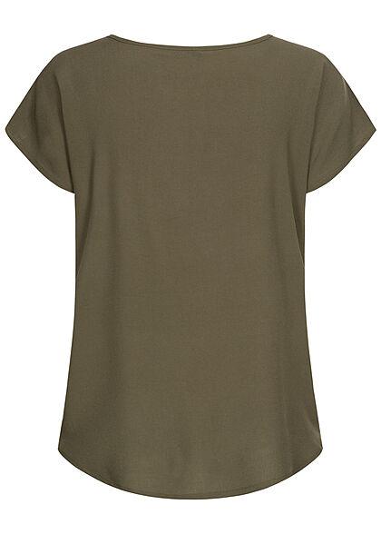 Sublevel Damen Blusen Shirt überlappende Schultern grape leaf oliv grün