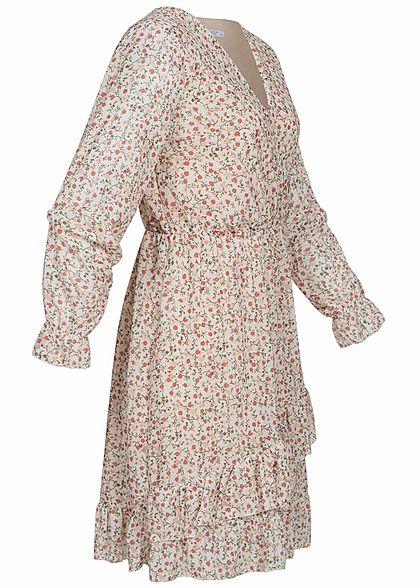 Hailys Damen V-Neck Mini Wickelkleid Volantärmel Blumen Muster beige