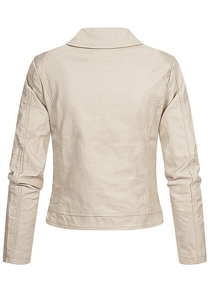 Hailys Damen Kunstleder Biker Jacke asymmetrisch 2-Pockets beige