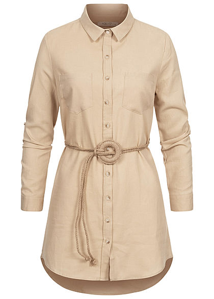 Hailys Damen Turn-Up Longform Bluse Knopfleiste inkl. Flechtgürtel beige