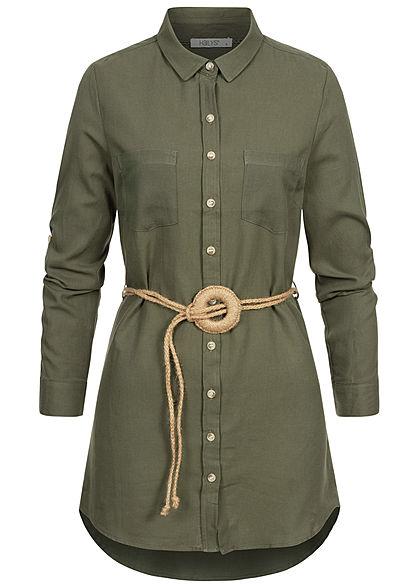 Hailys Damen Turn-Up Longform Bluse Knopfleiste inkl. Flechtgürtel khaki grün
