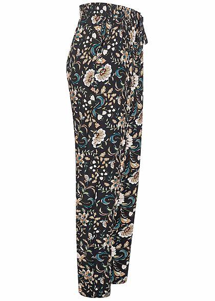 Hailys Damen Viskose Stoffhose Blumen Muster schwarz weiss