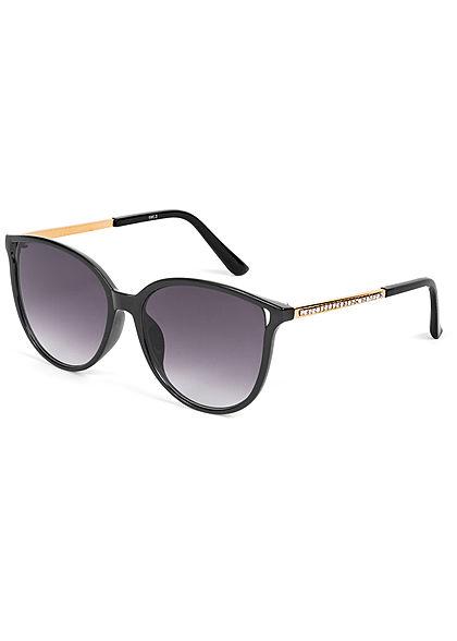 Hailys Damen Sonnenbrille mit Glitzerdetails am Bügel UV-400 Cat.3 schwarz