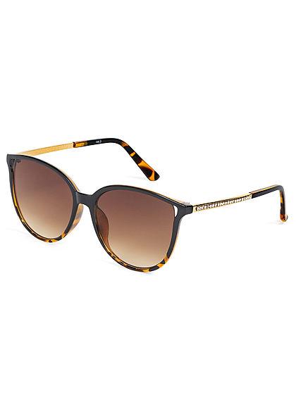Hailys Damen Sonnenbrille mit Glitzerdetails am Bügel UV-400 Cat.3 braun