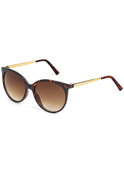 Hailys Damen Sonnenbrille runde Gläser Leo Print UV-400 Cat.3 braun