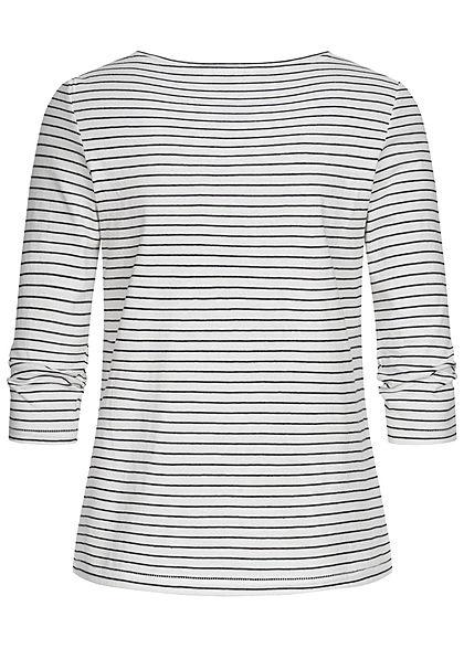 ONLY Damen 3/4 Arm V-Neck Shirt mit Knopfleiste Streifen Muster cloud dancer weiss blau