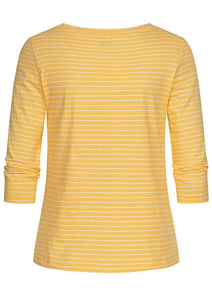 ONLY Damen 3/4 Arm V-Neck Shirt mit Knopfleiste Streifen Muster cornsilk gelb weiss