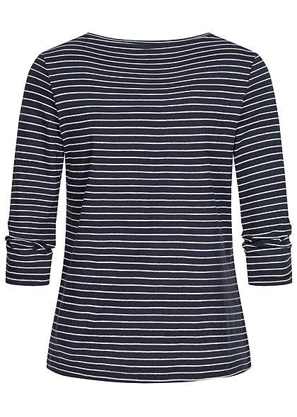 ONLY Damen 3/4 Arm V-Neck Shirt mit Knopfleiste Streifen Muster night sky navy blau