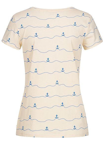 Tom Tailor Damen T-Shirt All Over Anker Print creme beige