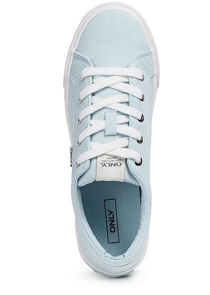 ONLY Damen Schuh Canvas Sneaker zum schnüren hellblau