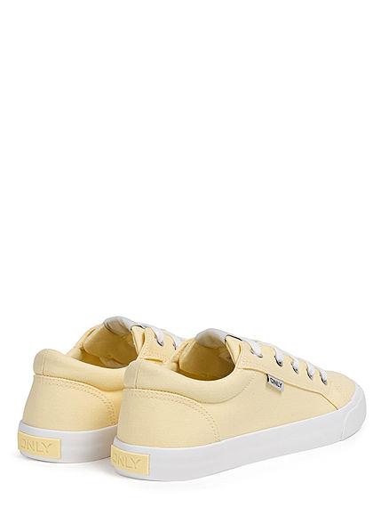 ONLY Damen Schuh Canvas Sneaker zum schnüren pear gelb