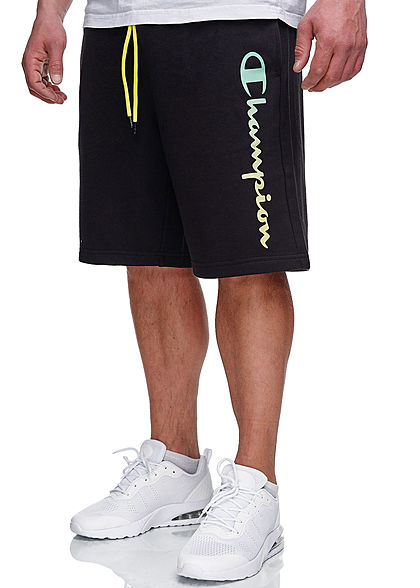 Champion Herren Sweat Shorts 2-Pockets Logo Print Tunnelzug schwarz neon grün gelb