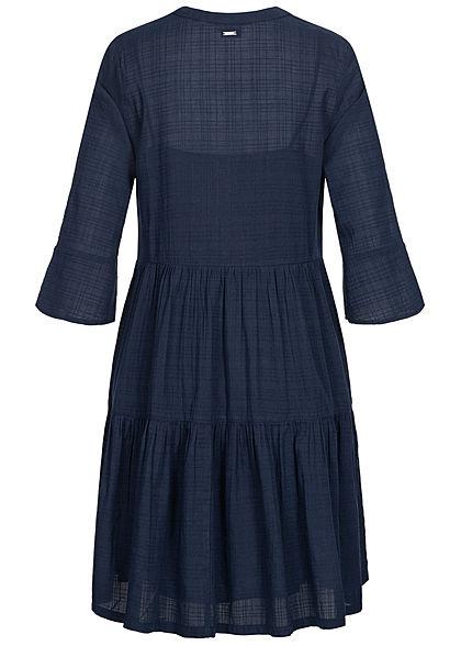 Tom Tailor Damen 3/4 Arm Stufen Kleid sky captain navy blau