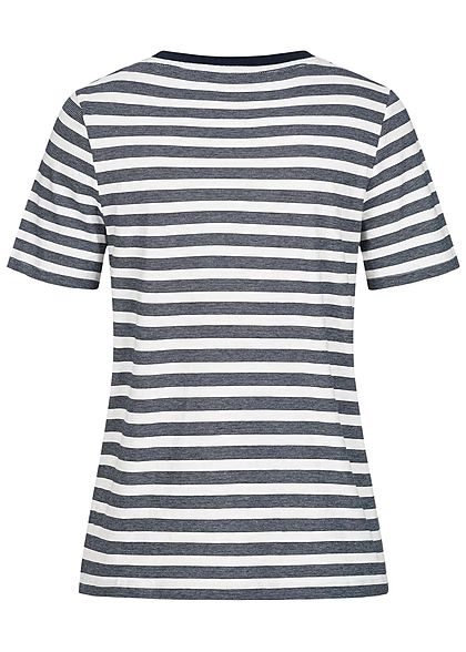 Tom Tailor Damen T-Shirt Streifen Muster navy blau weiss