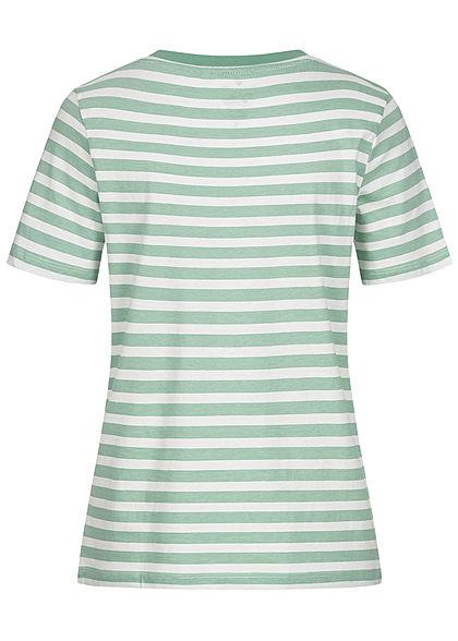 Tom Tailor Damen T-Shirt Streifen Muster grün weiss