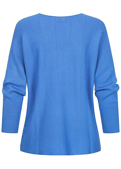 Tom Tailor Damen Ribbed Fledermausarm Pullover mid blau