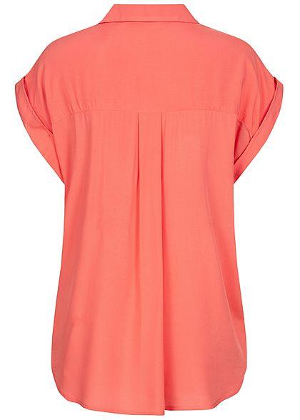 Tom Tailor Damen Viskose Blusen Shirt mit Ärmelumschlag strong peach pink