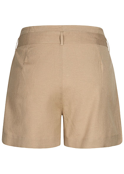 ONLY Damen High Waist Shorts inkl. Bindegürtel 2-Pockets pure cashmere beige