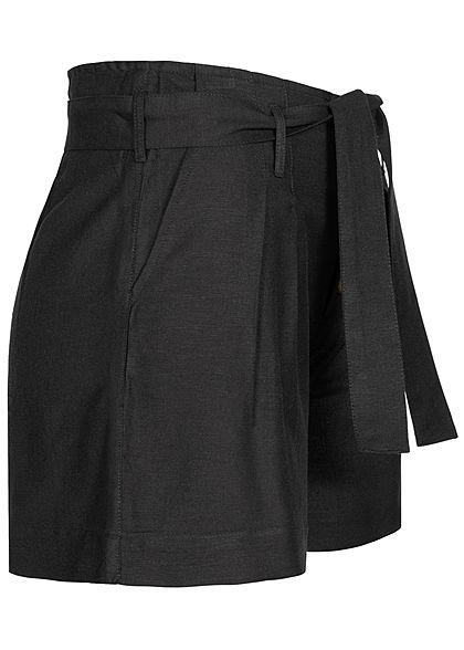 ONLY Damen High Waist Shorts inkl. Bindegürtel 2-Pockets schwarz
