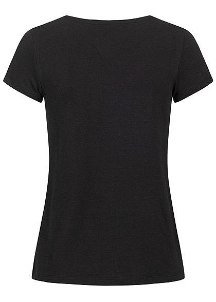 ONLY Damen Basic V-Neck T-Shirt schwarz