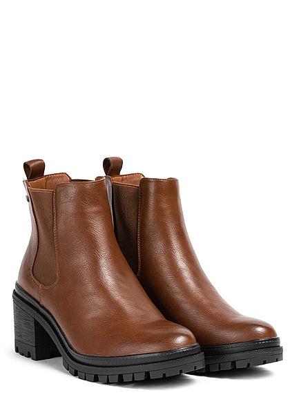 Zabaione Damen Schuh Stiefelette Absatz 7cm Kunstleder cognac braun