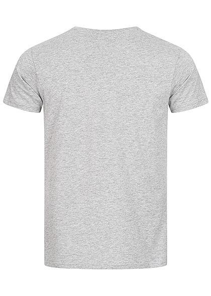 Eight2Nine Herren T-Shirt Logo Print grau melange