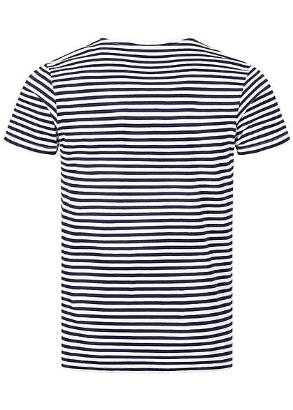 Eight2Nine Herren T-Shirt mit Streifen Muster Logo Stickerei weiss navy blau