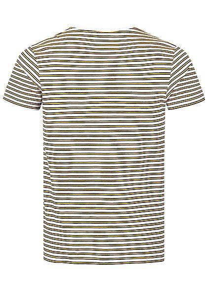 Eight2Nine Herren T-Shirt mit Streifen Muster Logo Stickerei weiss gelb schwarz