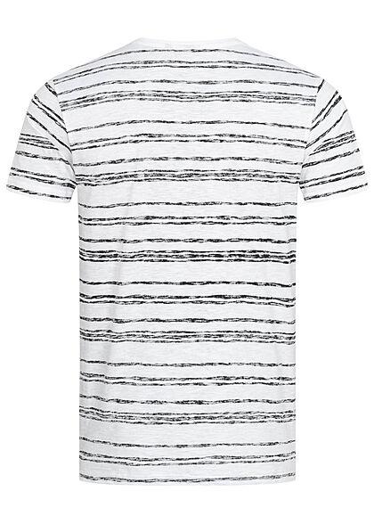 Eight2Nine Herren Struktur T-Shirt mit Streifen Muster Inside Print weiss schwarz