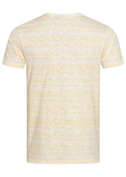 Eight2Nine Herren Struktur T-Shirt mit Streifen Muster Inside Print creamy gelb weiss