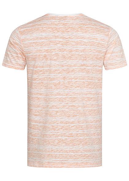 Eight2Nine Herren Struktur T-Shirt mit Streifen Muster Inside Print sunset peach