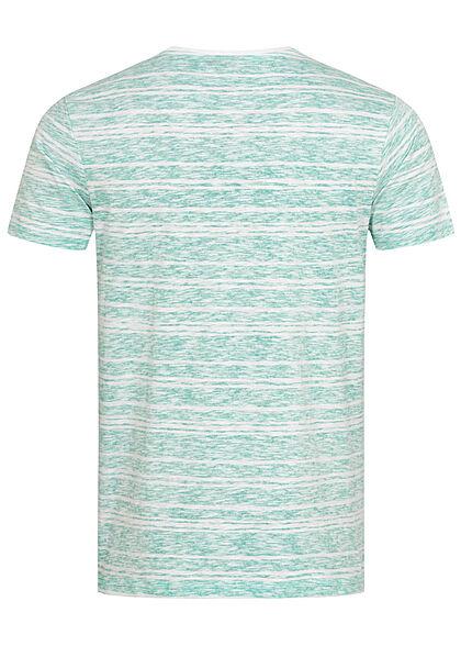 Eight2Nine Herren Struktur T-Shirt mit Streifen Muster Inside Print aruba grün weiss