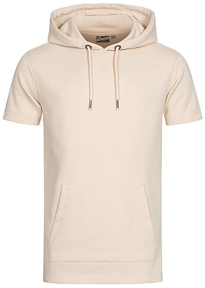 Eight2Nine Herren Kurzarm Sweat Hoodie Kapuze Tunnelzug Kängurutasche nude beige - Art.-Nr.: 21031055