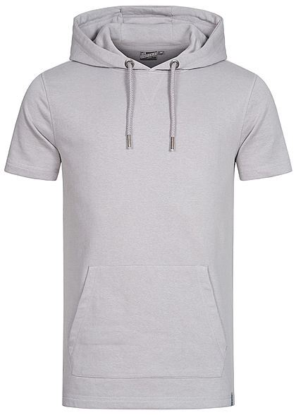Eight2Nine Herren Kurzarm Sweat Hoodie Kapuze Tunnelzug Kängurutasche dawn grau - Art.-Nr.: 21031056