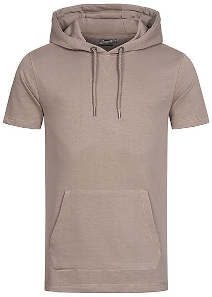 Eight2Nine Herren Kurzarm Sweat Hoodie Kapuze Tunnelzug Kängurutasche hell mud braun - Art.-Nr.: 21031057
