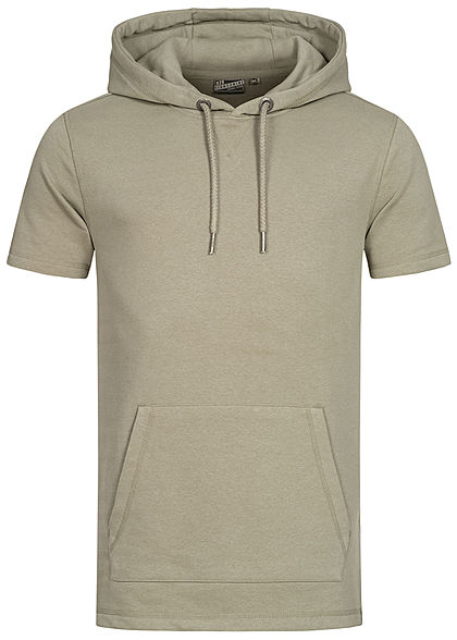 Eight2Nine Herren Kurzarm Sweat Hoodie Kapuze Tunnelzug Kängurutasche washed oliv grün - Art.-Nr.: 21031058