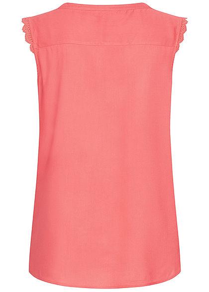 ONLY Damen NOOS V-Neck Blusen Top Häkelbesatz tea rose dunkel pink