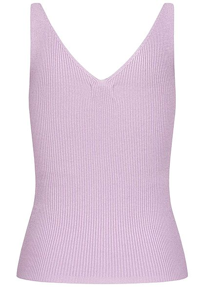 JDY by ONLY NOOS V-Neck Ribbed Top kurzer Schnitt pastel lilac lila