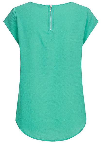 ONLY Damen NOOS Solid Blusen Shirt Struktur Muster Zipper see grün