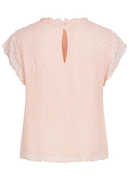 ONLY Damen NOOS Mesh Blusen Shirt Struktur Muster Punkte 2-lagig smoke rose
