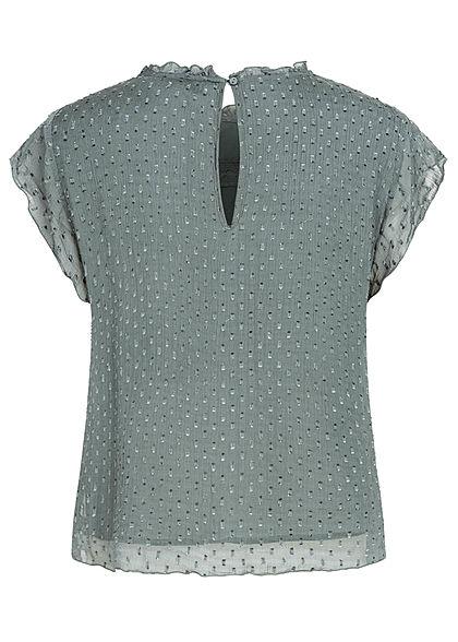 ONLY Damen NOOS Mesh Blusen Shirt Struktur Muster Punkte 2-lagig balsam grün