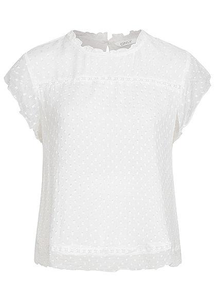 ONLY Damen NOOS Mesh Blusen Shirt Struktur Muster Punkte 2-lagig cloud dancer weiss