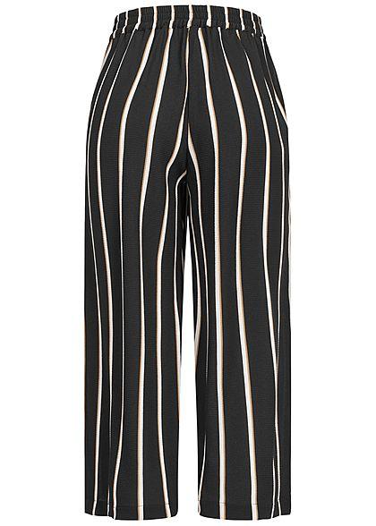 ONLY Damen NOOS lockere 3/4 Culotte Struktur Hose Streifen 2-Pockets schwarz camel braun