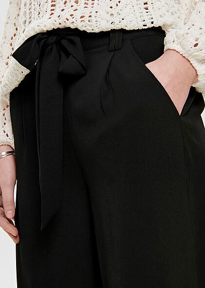 ONLY Damen NOOS lockere 3/4 Culotte Struktur Hose 2-Pockets unicolor schwarz