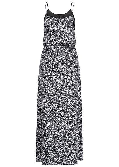 ONLY Damen NOOS Maxi Kleid Taillengummizug Blumen Print schwarz weiss blau