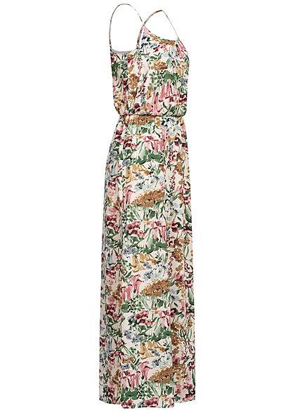 ONLY Damen NOOS Maxi Kleid Taillengummizug Blumen Print cloud dancer beige grün