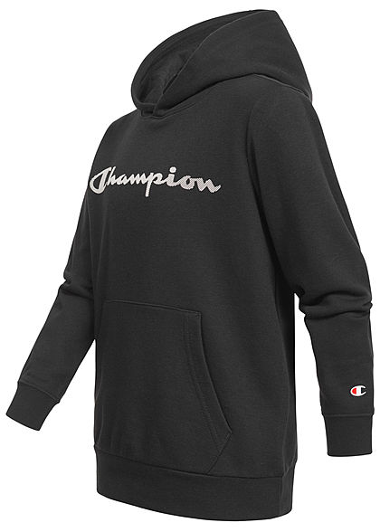 Champion Kids Hoodie mit Kapuze Kängurutasche Logo Print schwarz weiss