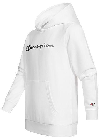 Champion Kids Hoodie mit Kapuze Kängurutasche Logo Print weiss schwarz